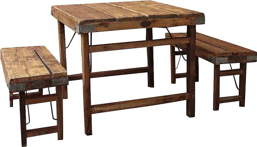 Furnishings Farmhouse Small Wood Planks Dining Table With Benches