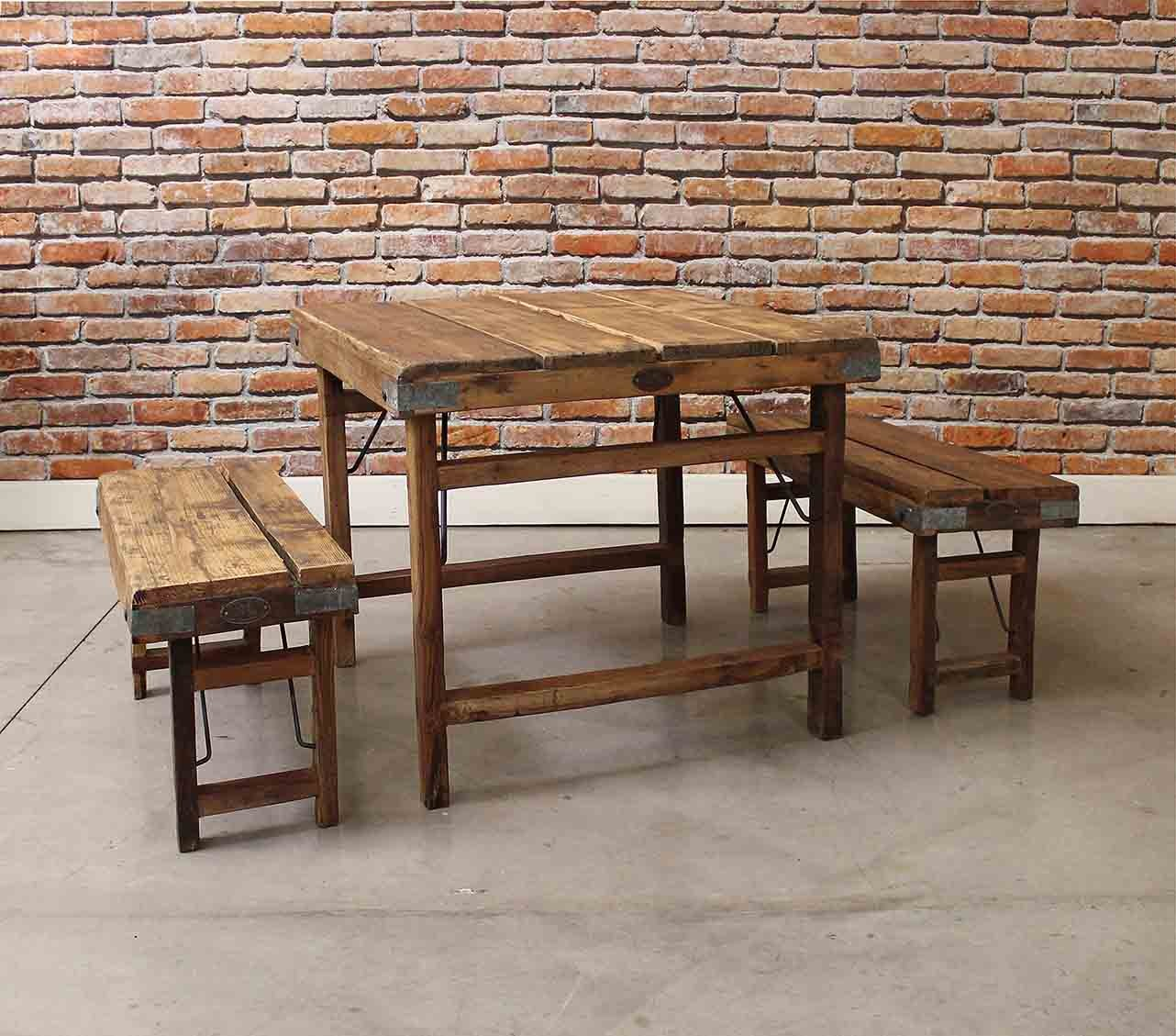 Home Farmhouse Small Wood Planks Dining Table With Benches