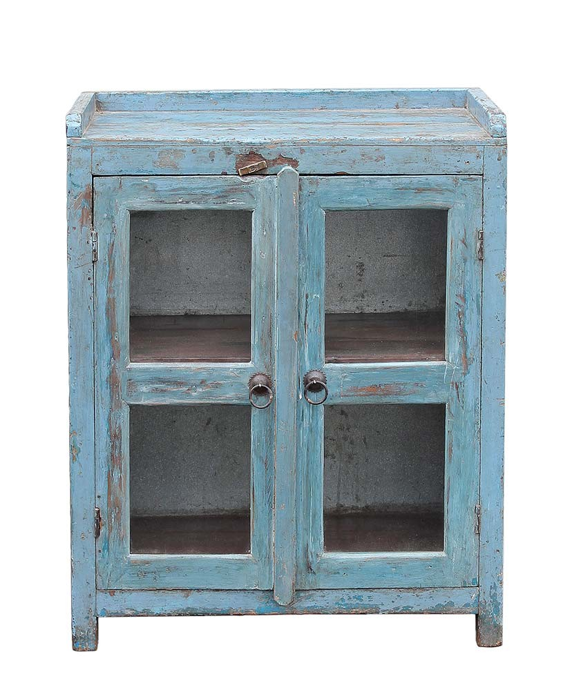 Sky Blue Glass Door Cabinet Cabinets Home Furnishings