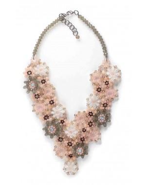 Peach Flower Crystal Necklace