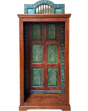 Green-Hued Handpainted Bookcase