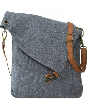Foldover Charcoal Jute Crossbody FRONT