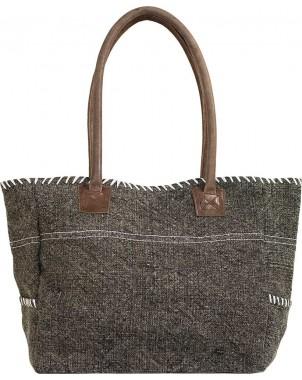 Charcoal/White Jute Shoulder Bag FRONT