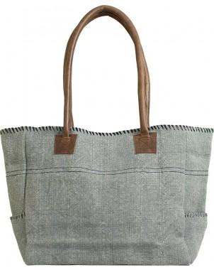Light Grey/Black Jute Shoulder Bag FRONT
