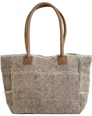 Light Grey/White Jute Shoulder Bag FRONT