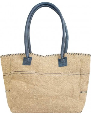 Natural/Navy Jute Shoulder Bag FRONT