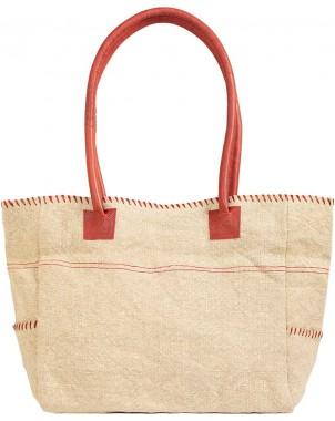 Natural/Red Jute Shoulder Bag FRONT