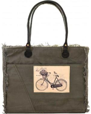 Bon Voyage Bicycle Canvas Tote FRONT