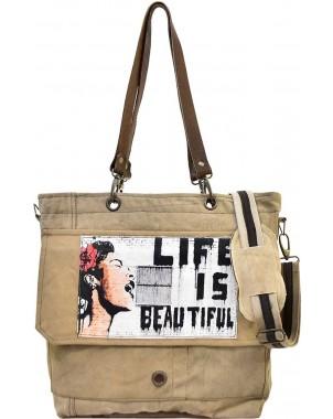 Life Is Beautiful B/W Crossbody/Messenger Bag
