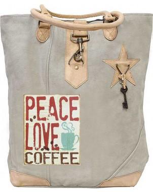 Peace, Love Coffee Canvas Tote
