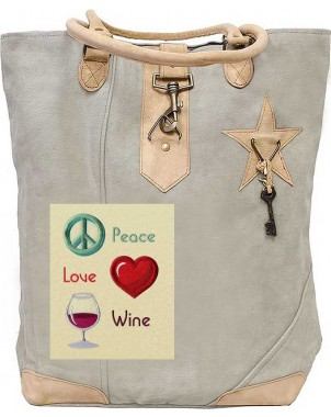 Peace Love Wine Canvas Tote