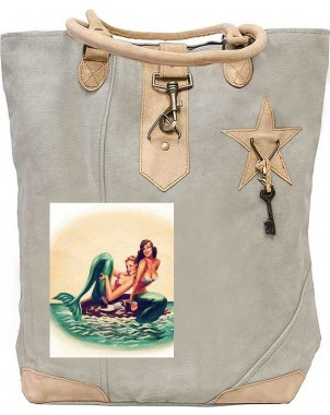 Sister Mermaids Canvas Tote