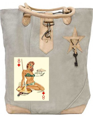 Pin Up Card Girl Canvas Tote