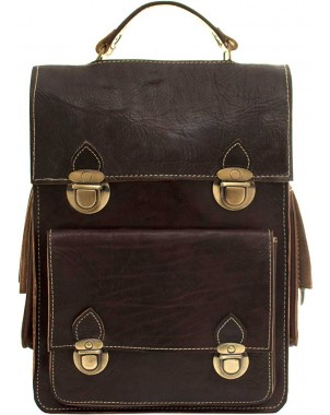 Heritage Chocolate Leather Convertible Bag FRONT