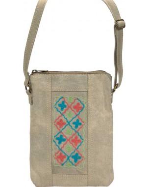 Desert Sand Embroidered Canvas Crossbody