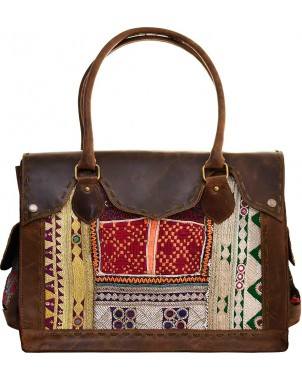 Brown Leather & Vintage Fabric Bag w/Removable Laptop Insert