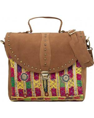 Studded Leather & Vintage Fabric Laptop Bag