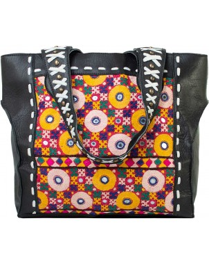 Black Leather Studded Handbag