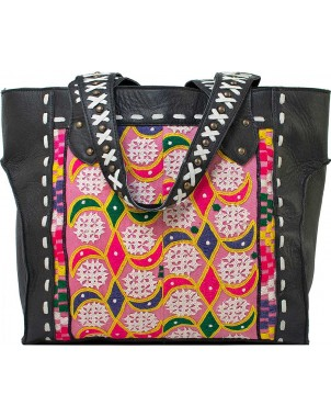 Black Leather Studded Handbag