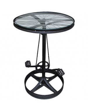 Glass Top Metal Bicycle Table