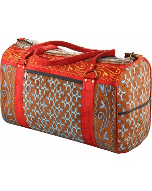 Camel & Red Embroidered Suede Weekend Travel Bag Handcrafted in Nepal