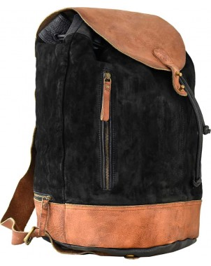 Suede & Leather Black Backpack