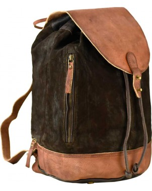 Suede & Leather Brown Backpack