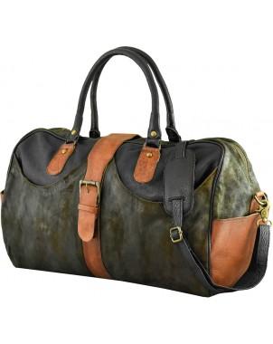 Suede & Leather Olive & Black Travel Bag