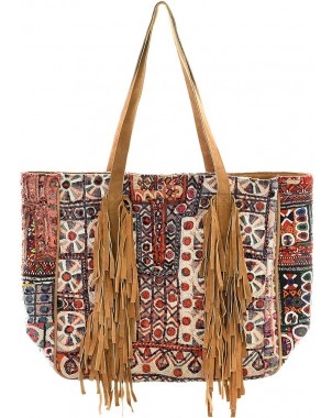 Fringed Vintage Fabric & Suede Oversized Tote
