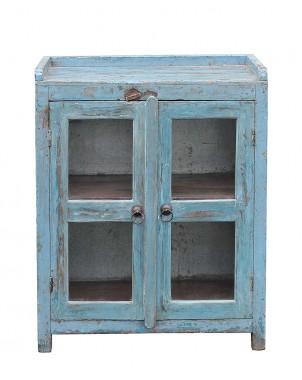 Sky Blue Glass Door Cabinet