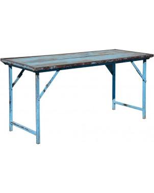 Vintage Wood w/Heavy Duty Steel Frame Folding Table