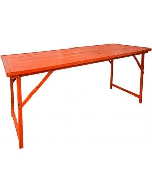 Orange Vintage Wood w/Heavy Duty Steel Frame Folding Table