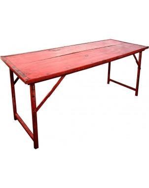 Red Vintage Wood w/Heavy Duty Steel Frame Folding Table