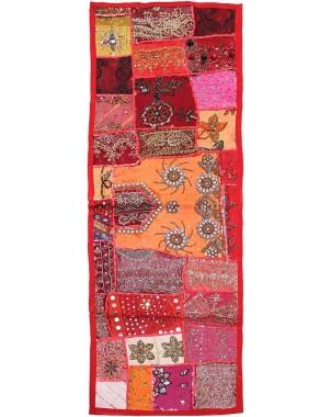 Salmon Vintage Fabric Hand-Beaded Rectangular Table Runner