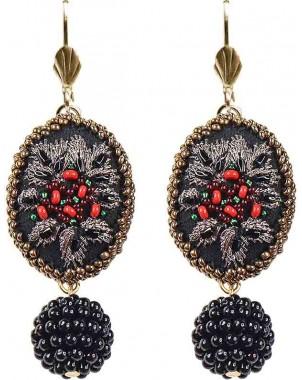 Vintage Inspired Black Beaded Rhinestone Earrings