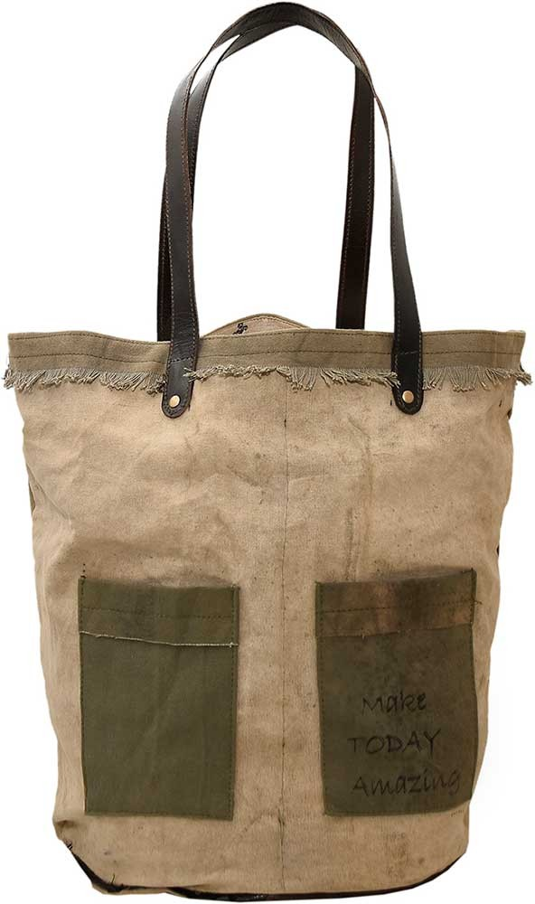 Make Today Amazing Recycled Military Tent Tote Bags