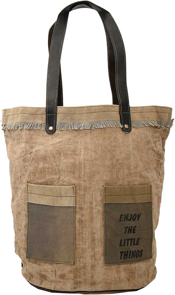 Enjoy The Little Things Recycled Military Tent Tote