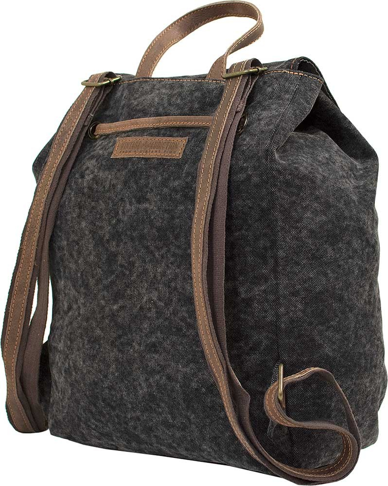 Charcoal Black Canvas Backpack With Leather Trim Bags