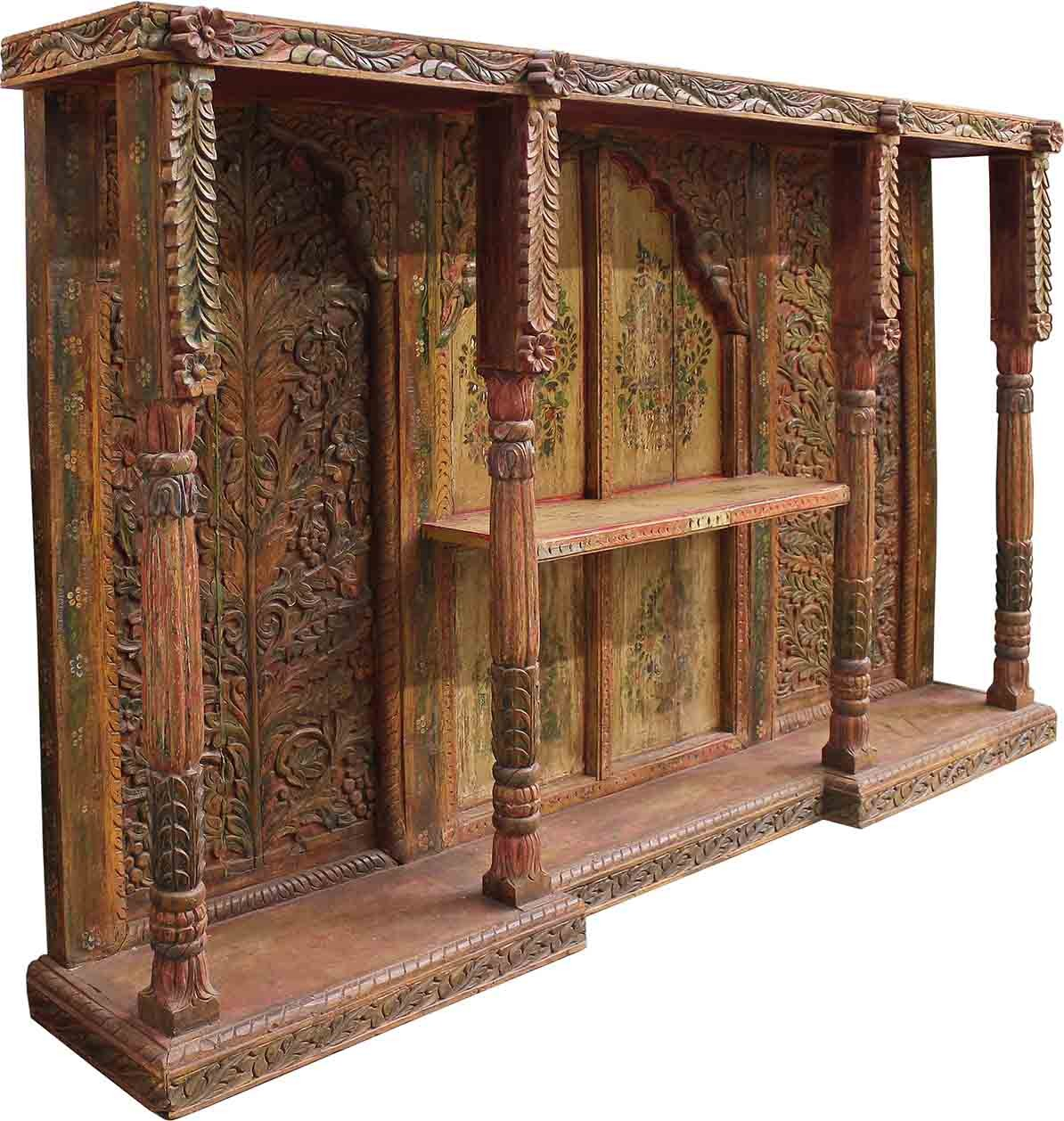 ... Antique Carved & Painted Wall Unit ... - Antique Carved & Painted Wall Unit - Cabinets - Home Furnishings
