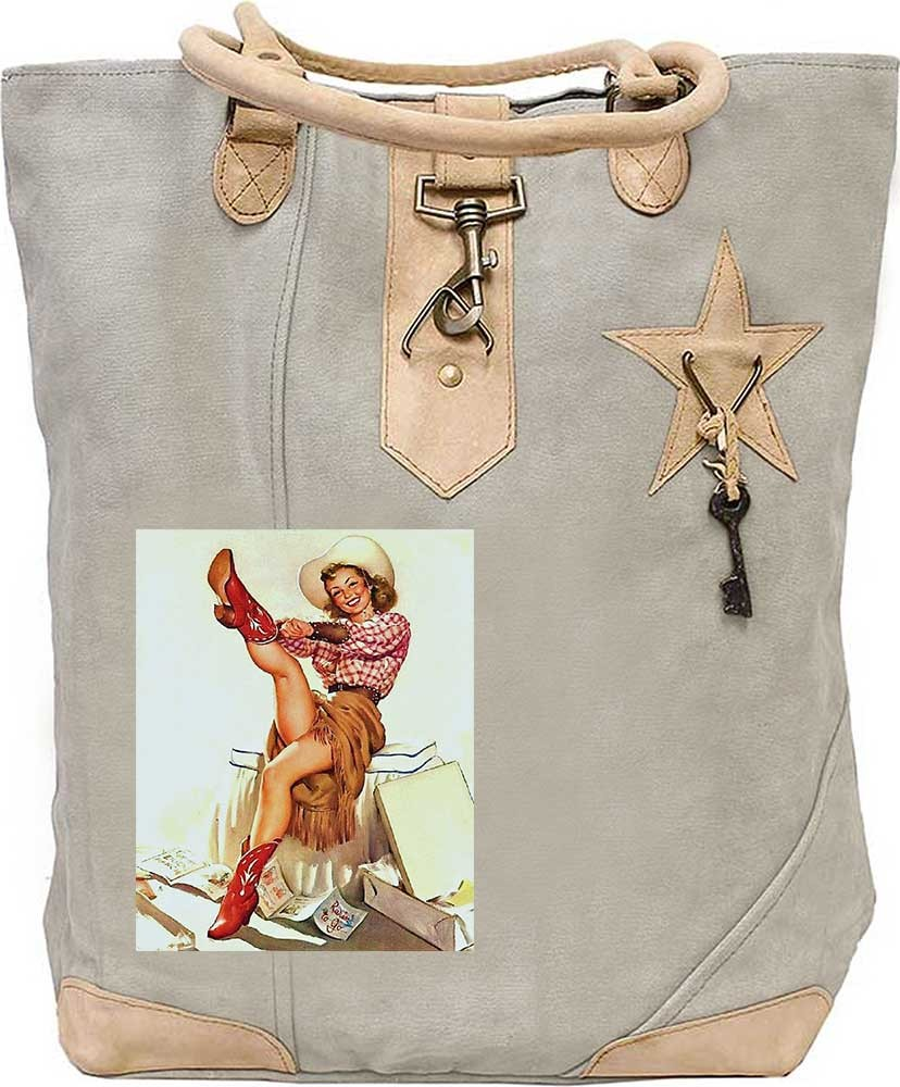 Red Boot Cowgirl Canvas Tote Canvas Totes Bags