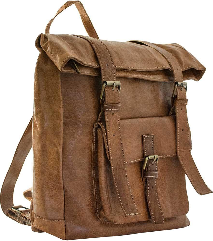 Medina Caramel Leather Backpack Back Pack Bags