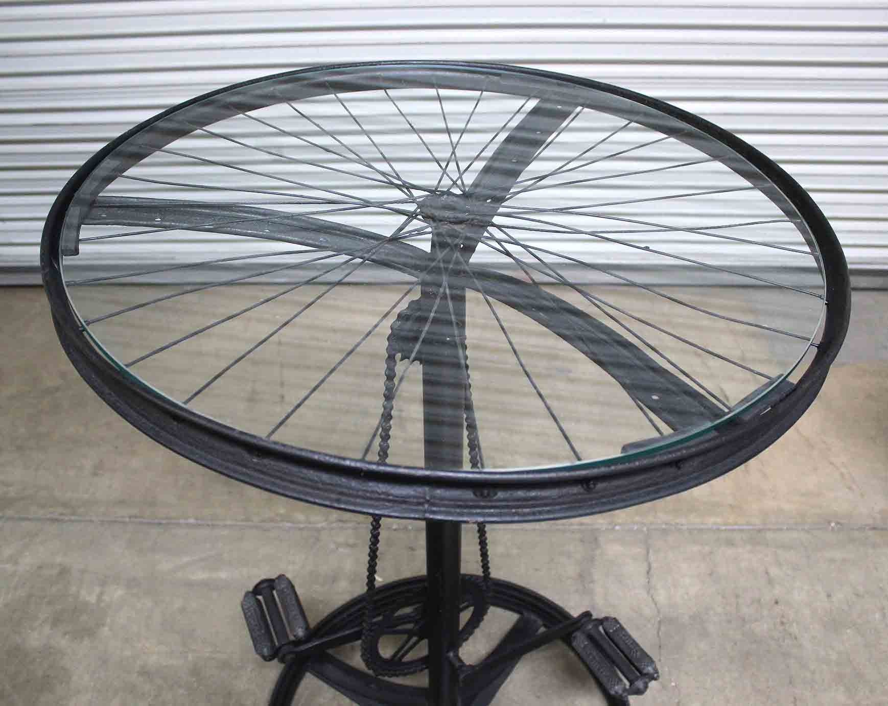 Glass Top Metal Bicycle Table Tables Home Furnishings