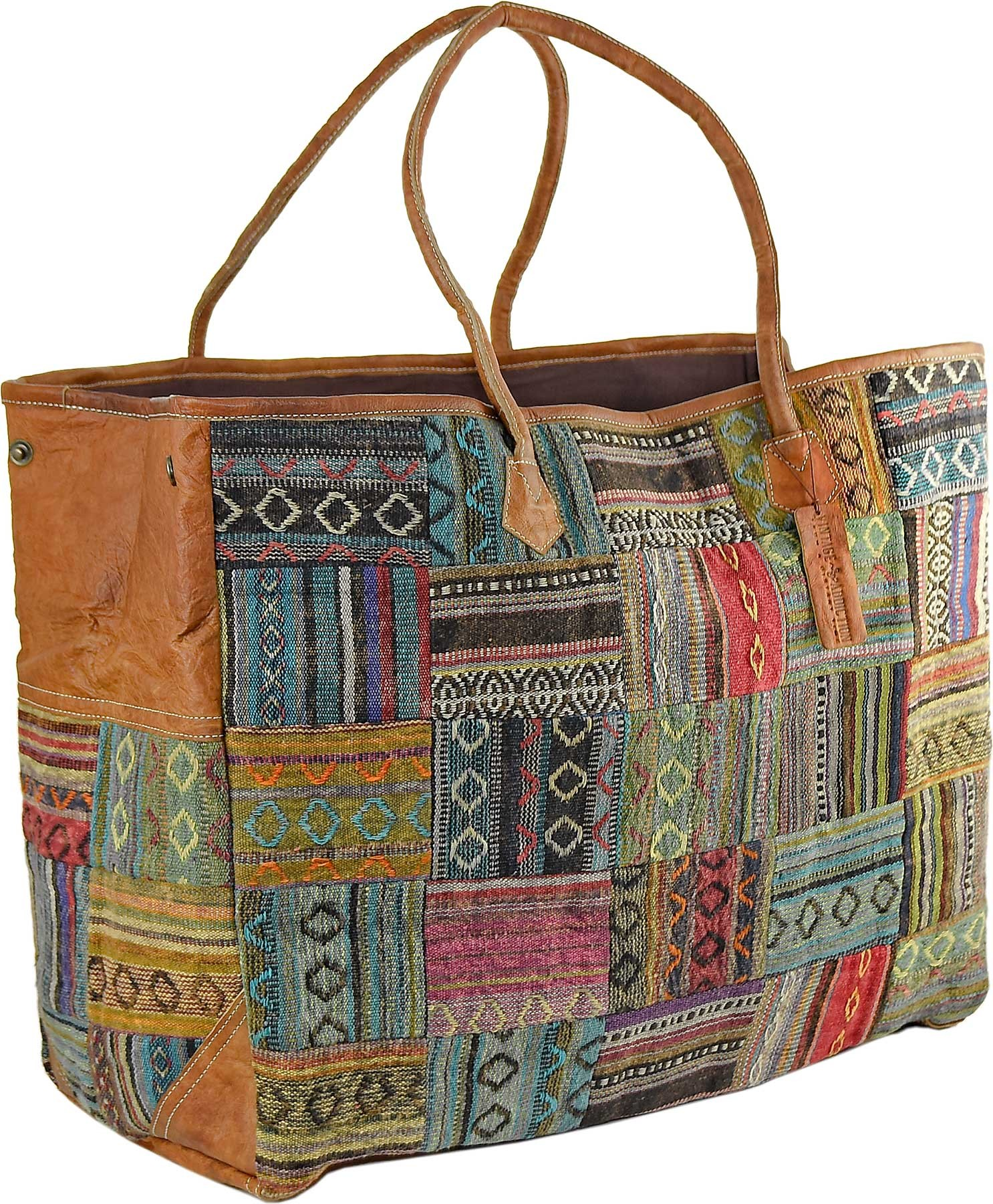 97cf0a8d505f Wanderlust Oversized Tote Bag w Leather Side Trim - Bags   Accessories