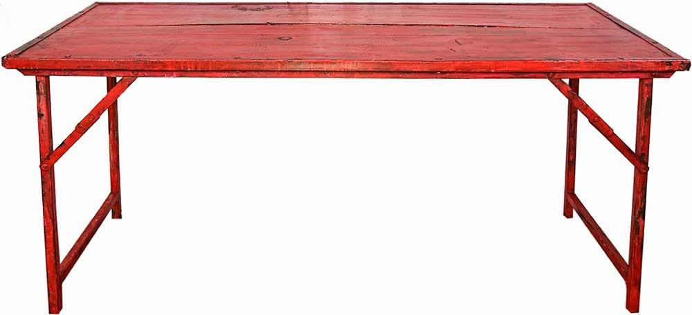 ... Red Vintage Wood W/Heavy Duty Steel Frame Folding Table ...