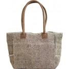 Light Grey/White Jute Shoulder Bag FRONT
