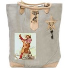 Red Boot Cowgirl Canvas Tote