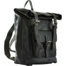 Medina Black Leather Backpack FRONT