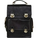 Heritage Black Leather Convertible Bag FRONT