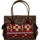Brown Leather & Artisan Fabric Bag w/Removable Laptop Insert