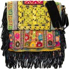 Black Boho Chic Fringed Messenger Bag